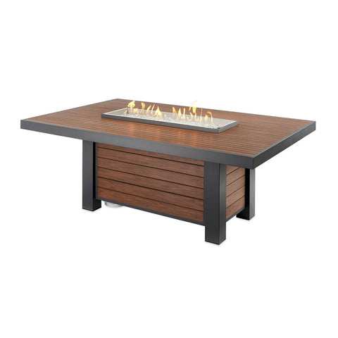 The Outdoor GreatRoom Kenwood 80.69-Inch Linear Dining Height Propane Gas Fire Pit Table w/ Standard Battery Ignition (NG Conversion Included) - KW-1242-K