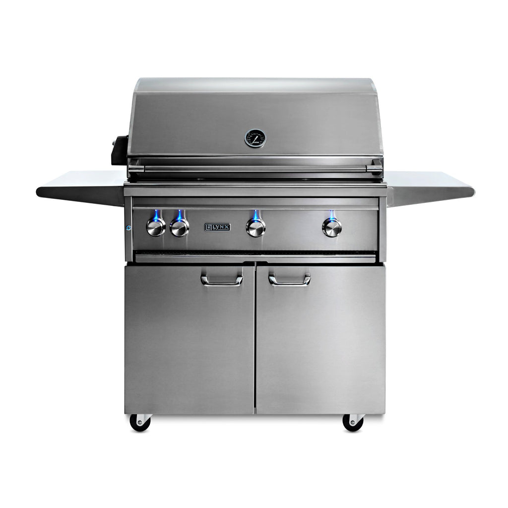 Lynx Professional 36-Inch Natural Gas Freestanding Grill - All Trident Sear Burner w/ Rotisserie - L36ATRF-NG
