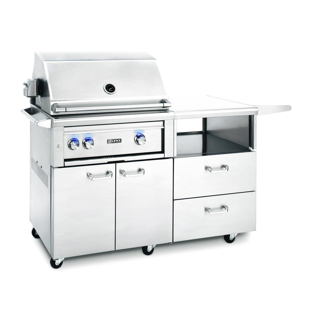 Lynx Professional 30-Inch Natural Gas Grill - All Trident w/ Rotisserie on Mobile Kitchen Cart - L30ATR-M-NG