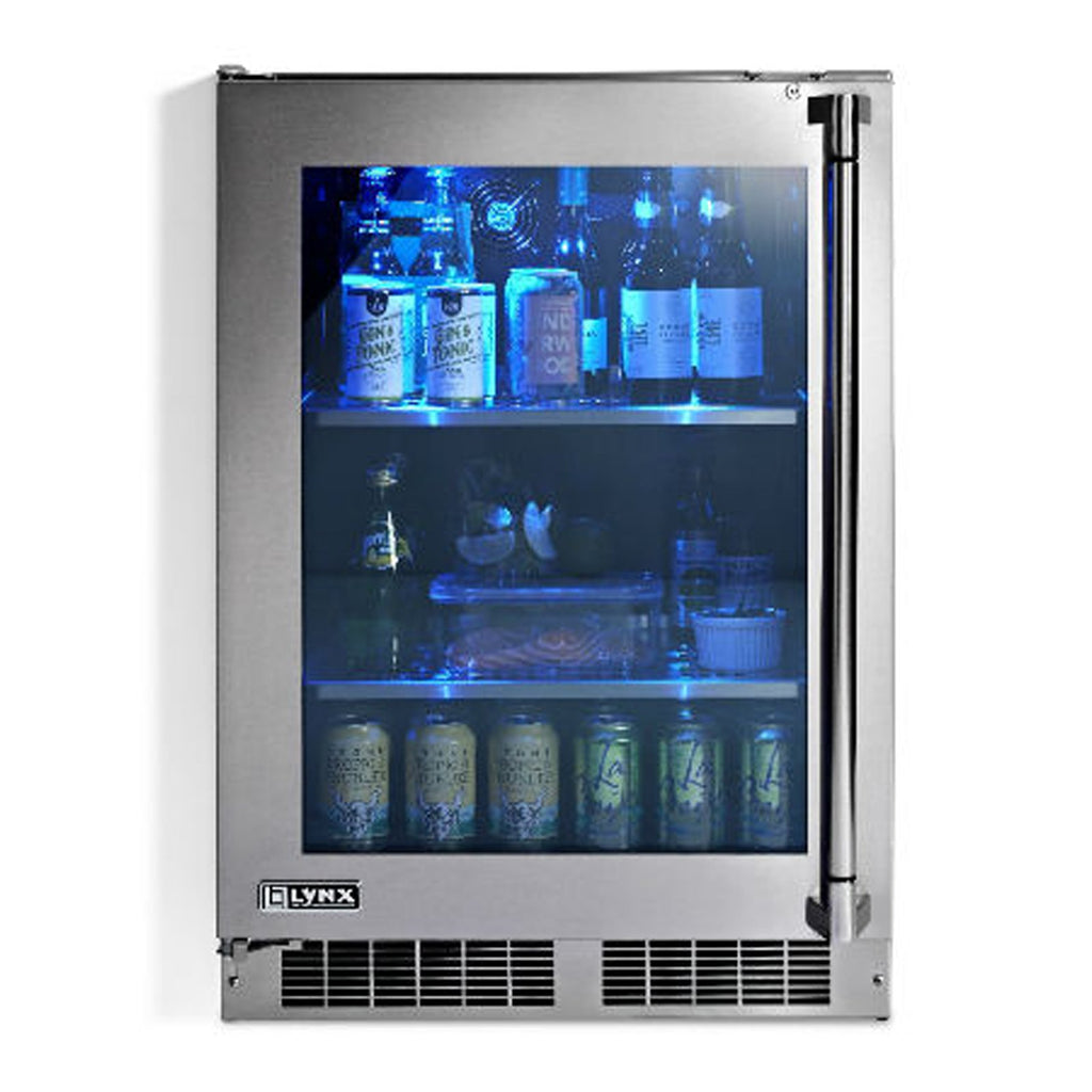 Lynx Professional 24-Inch Refrigerator w/ See Through Glass Door and Door Lock (Left Hinge) - LM24REFGL