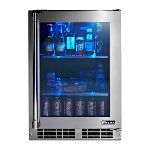 Lynx Professional 24-Inch Refrigerator w/ See Through Glass Door (Right Hinge) - LM24REFGR