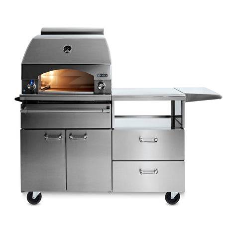 Lynx Professional 30-Inch Natural Gas Napoli Pizza Oven on Mobile Kitchen Cart - LPZAF-NG