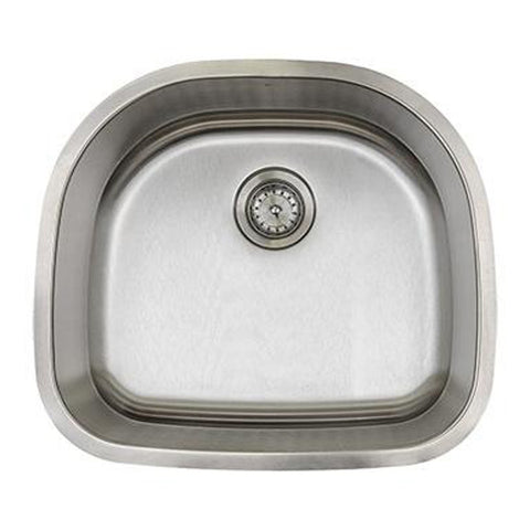 E2 Stainless 18 Gauge 23x21x9 Stainless Steel D Shaped Sink - M2421-18
