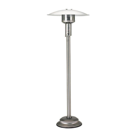 Patio Comfort Natural Gas Portable Patio Heater w/ Push Button Ignition: Includes 12-Inch Steel Hose Kit with 2 Quick Disconnects and Shut Off Valve (Stainless Steel) - NPC05 SS