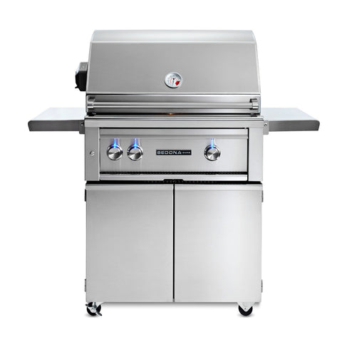 Sedona by Lynx 30-Inch Propane Gas Freestanding Grill - 1 Stainless Steel Burner and 1 ProSear Burner, w/ Rotisserie - L500PSFR-LP