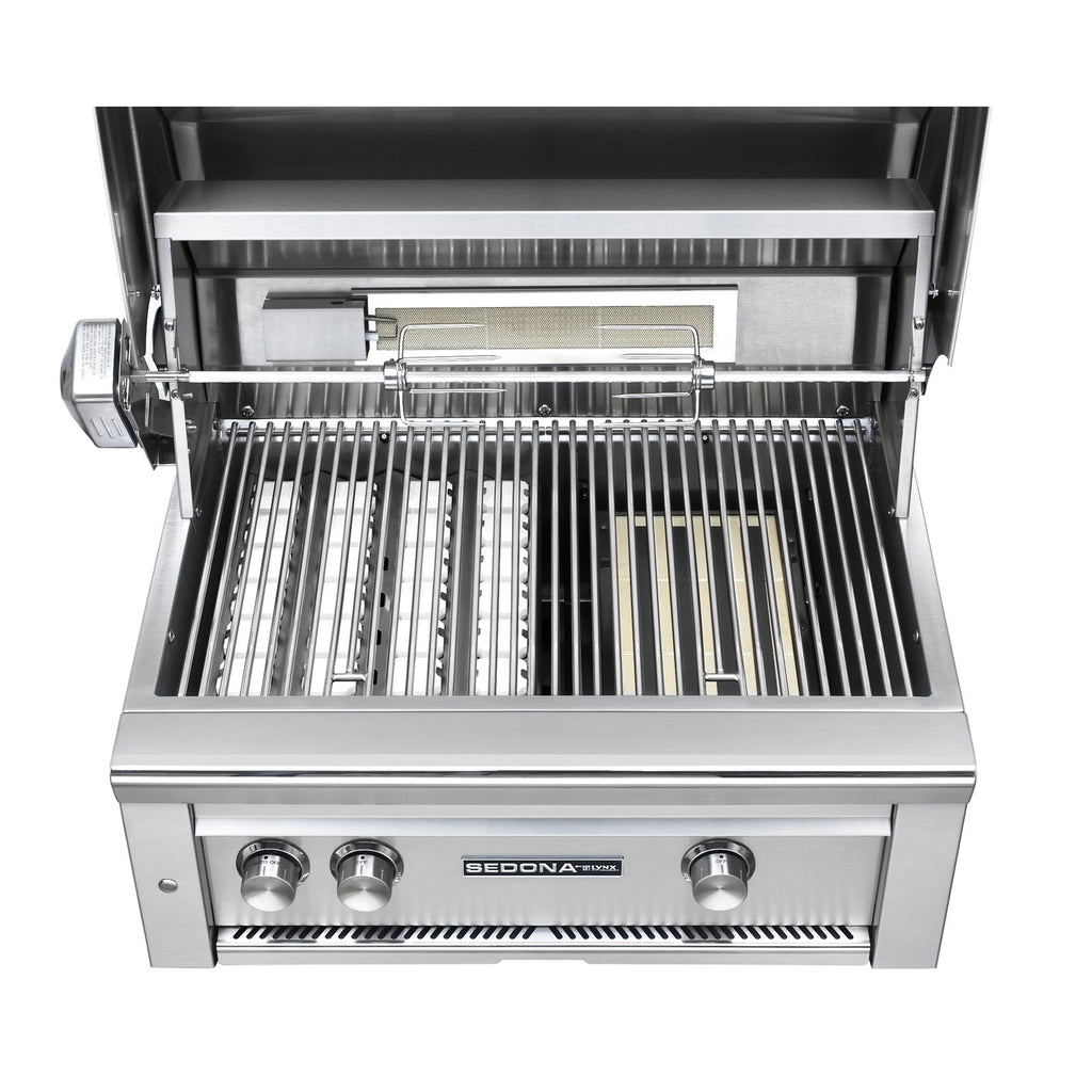 Sedona by Lynx 30-Inch Propane Gas Built-In Grill - 2 Stainless Steel Burners, w/ Rotisserie - L500R-LP
