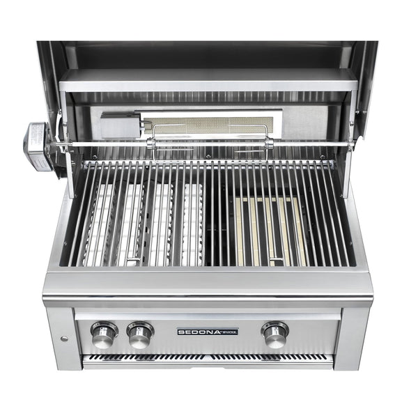 Sedona by Lynx 30-Inch Natural Gas Built-In Grill - 1 Stainless Steel Burner and 1 ProSear Burner, w/ Rotisserie - L500PSR-NG
