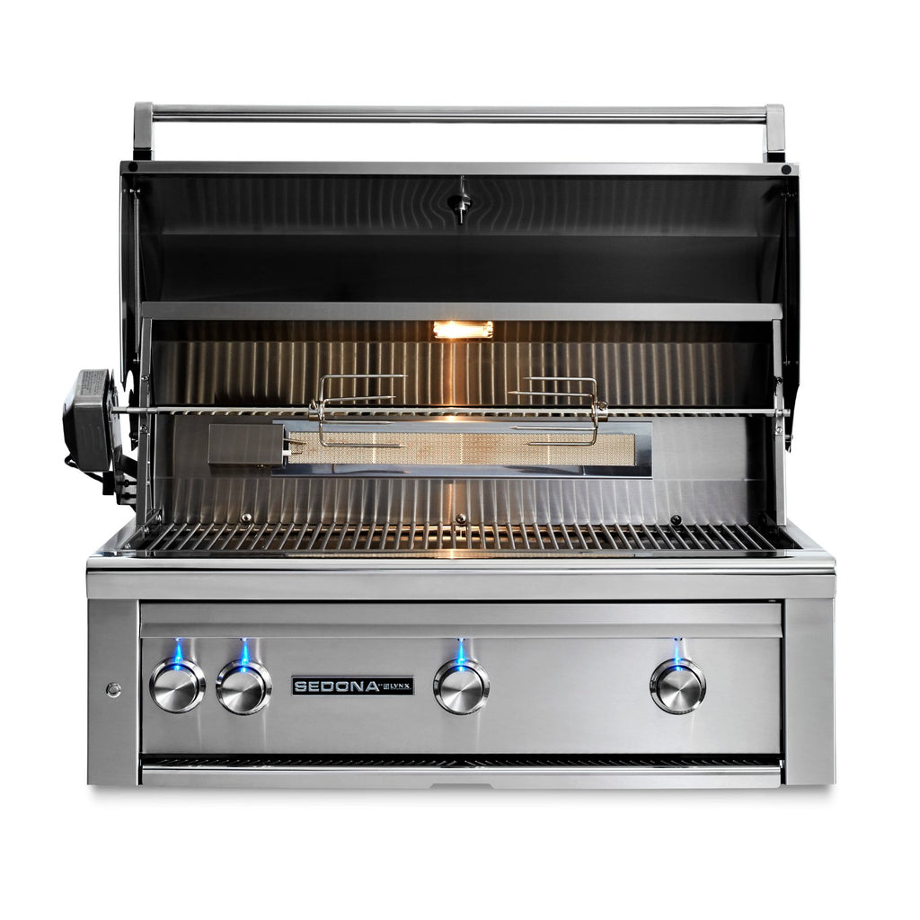 Sedona by Lynx 36-Inch Natural Gas Built-In Grill - 3 Stainless Steel Burners, w/ Rotisserie - L600R-NG