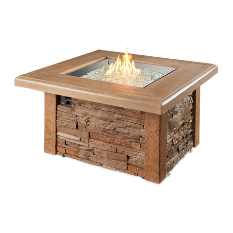 The Outdoor GreatRoom Sierra 43.5-Inch Square Propane Gas Fire Pit Table w/ Direct Spark Ignition - SIERRA-2424-M-K + CF-DSI-LP
