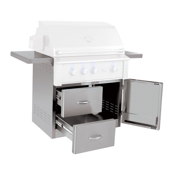 Summerset Stainless Steel Fully Assembled Deluxe Door and 2 Drawer Combo Cart w/ Adjustable Shelves for 36-Inch Alturi Grills (Cart Only) - CART-ALT36