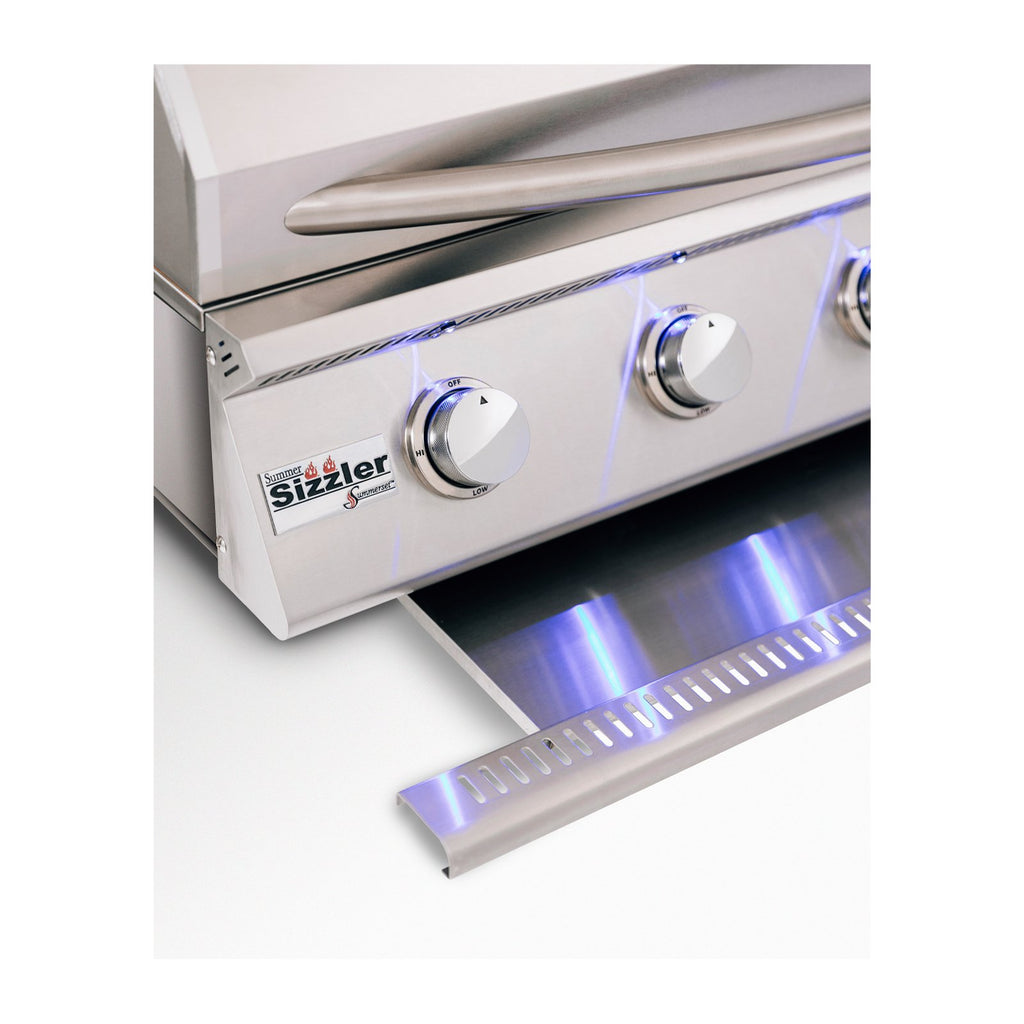Summerset Sizzler Professional Series 32-Inch Natural Gas Built-In Grill w/ 4 Burners and 1 Rear Infrared Rotisserie Burner (Rotisserie Kit NOT Included) - SIZPRO32-NG