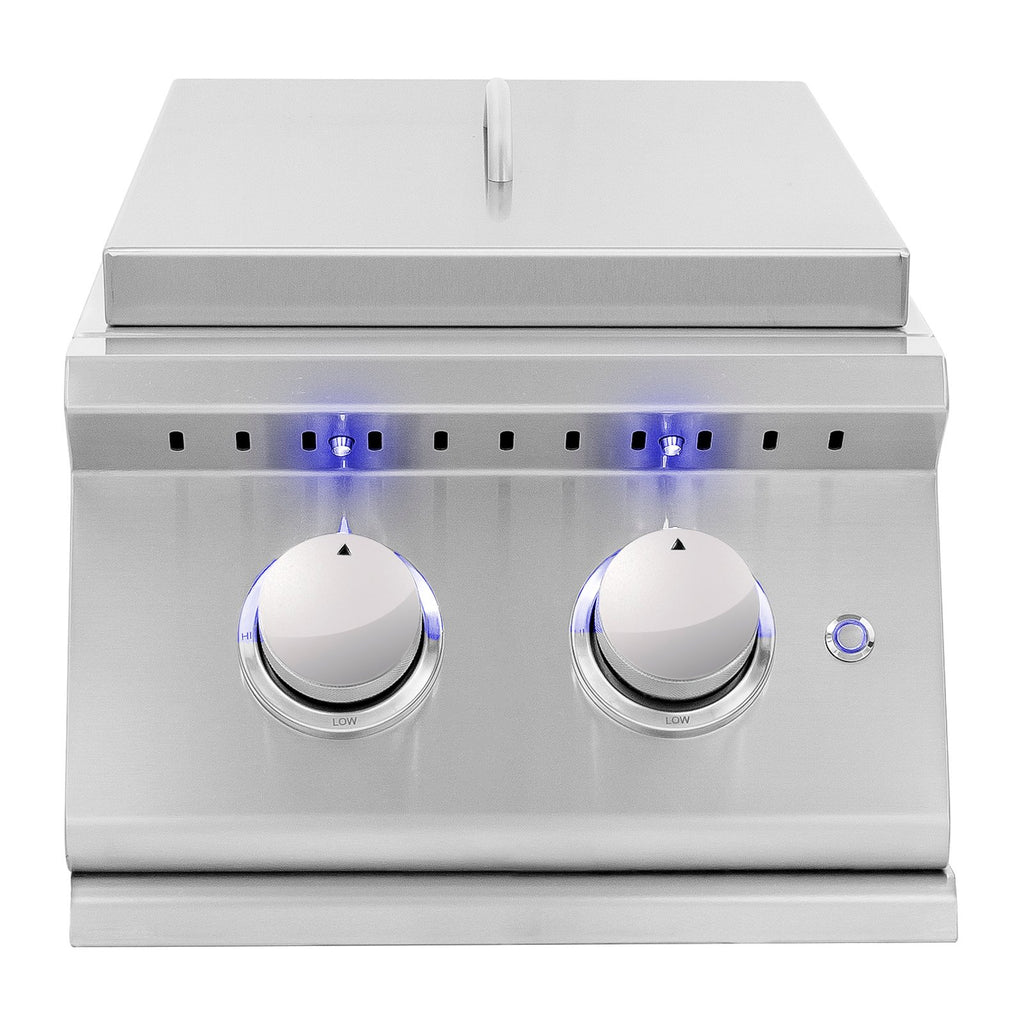Summerset Sizzler Pro Series Propane Gas Built-In Double Side Burner w/ LED Illumination and Removable Lid - SIZPROSB2-LP