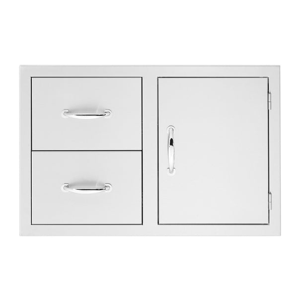 Summerset 33-Inch North American Stainless Steel 2-Drawer and Access Door Combo w/ Masonry Frame Return - SSDC2-33M