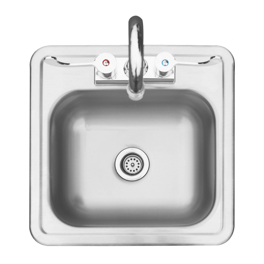 Summerset 15x15 Stainless Steel Drop-in Sink w/ Hot and Cold Faucet - SSNK-15D