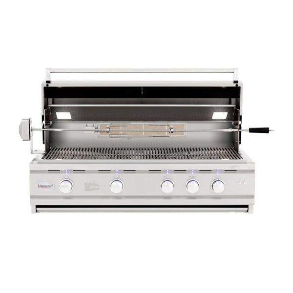 Summerset TRLD Deluxe Series 44-Inch Propane Gas Built-In Grill w/ 4 Burners, 1 Rear Infrared Rotisserie Burner and Rotisserie Kit - TRLD44-LP