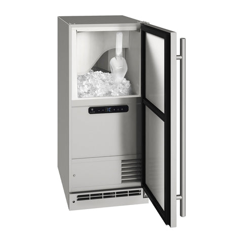 U-Line 15-Inch Stainless Steel Outdoor Clear Ice Machine w/ Reversible Hinge - UOCL115-SS01A