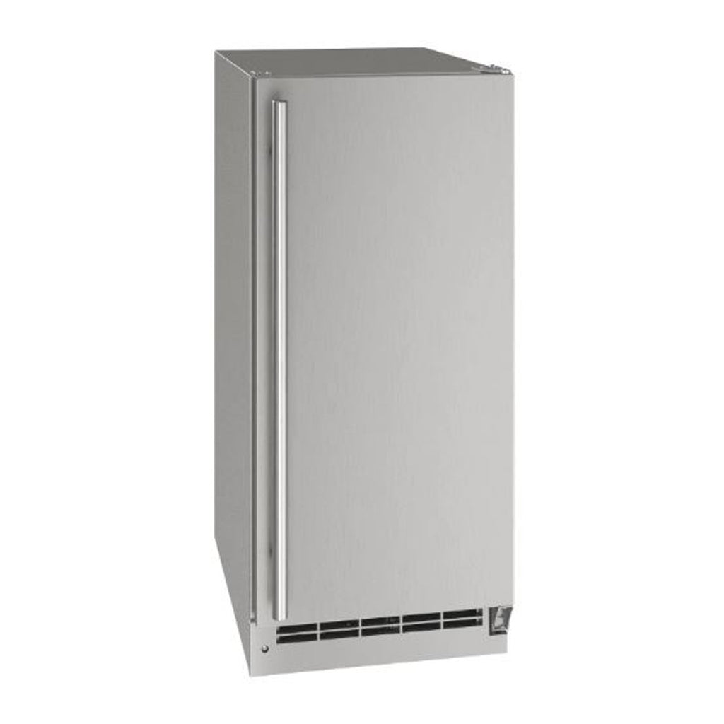 U-Line 15-Inch Stainless Steel Outdoor Nugget Ice Machine w/ Reversible Hinge and Pump Included - UONP115-SS01B