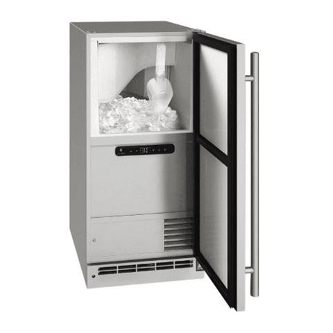 U-Line 15-Inch Stainless Steel Outdoor Clear Ice Machine w/ Reversible Hinge and Pump Included - UOCP115-SS01A