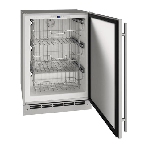U-Line 24-Inch Stainless Steel Outdoor Convertible Freezer - UOFZ124-SS01A