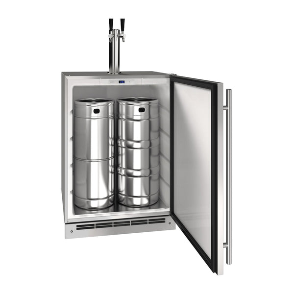 U-Line 24-Inch Stainless Steel Outdoor Keg Refrigerator w/ Reversible Hinge - UOKR124-SS01A