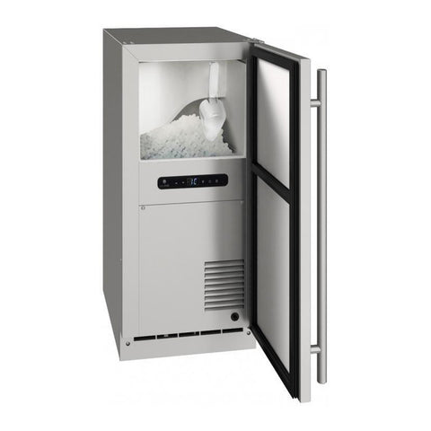 U-Line 15-Inch Stainless Steel Outdoor Nugget Ice Machine w/ Reversible Hinge - UONB115-SS01B