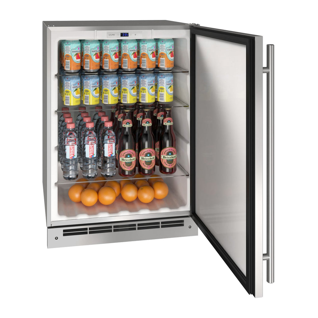 U-Line 24-Inch Stainless Steel Outdoor Refrigerator w/ Reversible Hinge and Lock - UORE124-SS31A