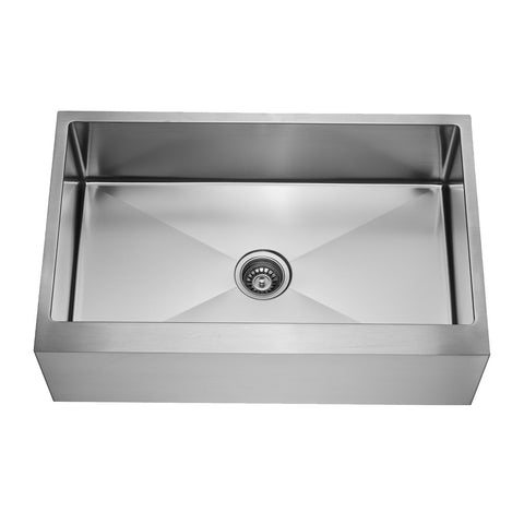 E2 Stainless 16 Gauge 33x21x9 Stainless Steel Rectangular Sink w/ Very Small Corner Radius and 10-Inch Apron Front - VRS-3321A