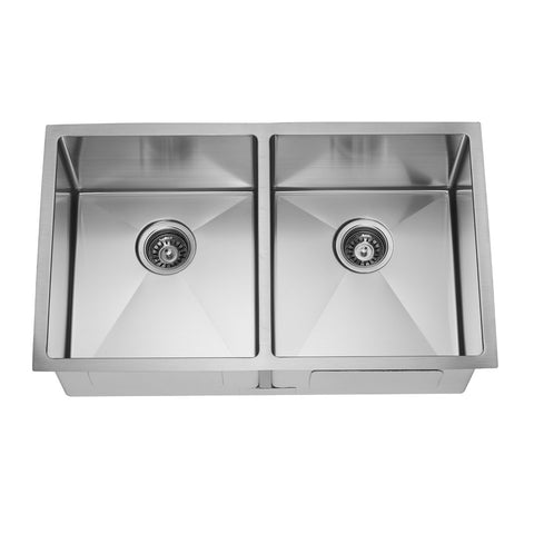 E2 Stainless 16 Gauge 32x19x10 Stainless Steel Rectangular Double Even Sink w/ Very Small Corner Radius - VSR-702