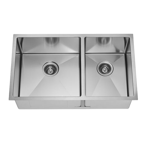 E2 Stainless 16 Gauge 32x19x10 Stainless Steel Rectangular Double Uneven Sink w/ Very Small Corner Radius - VSR-703