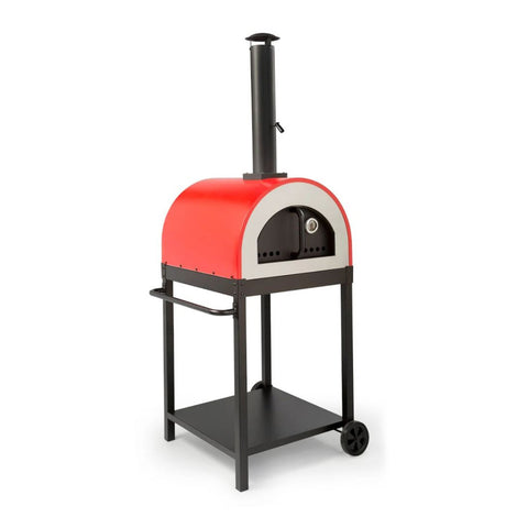 WPPO Traditional 25-Inch Wood Fired Pizza Oven in Red w/ Black Stand - WKE-04RED