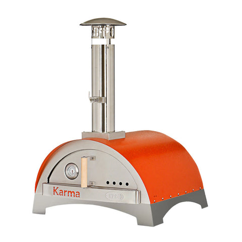 WPPO Karma 25-Inch Stainless Steel Wood Fired Pizza Oven in Orange w/ Stainless Steel Base - WKK-01S-Orange