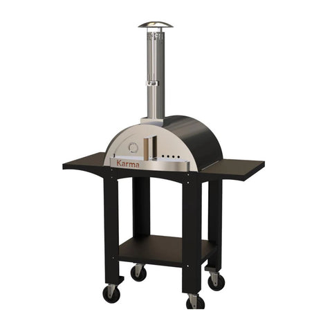 WPPO Karma 25-Inch Stainless Steel Wood Fired Pizza Oven in Black w/ Black Stand - WKK-01S-WS-Black