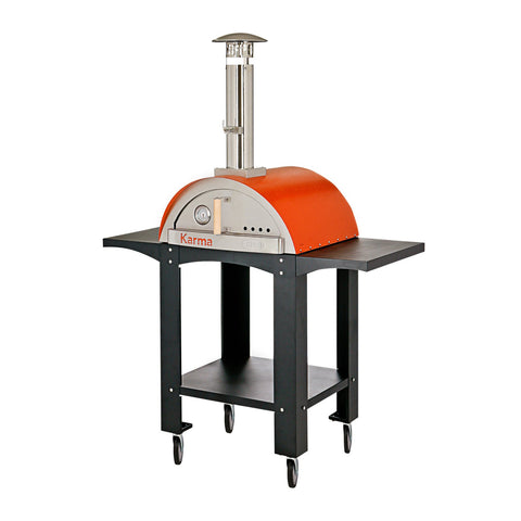 WPPO Karma 25-Inch Stainless Steel Wood Fired Pizza Oven in Orange w/ Black Stand - WKK-01S-WS-Orange