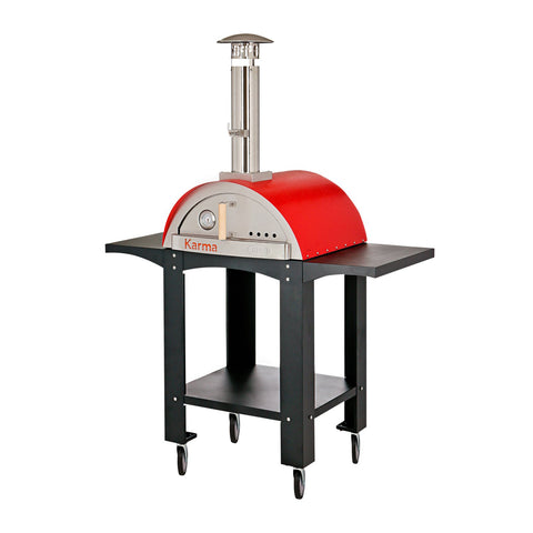 WPPO Karma 25-Inch Stainless Steel Wood Fired Pizza Oven in Red w/ Black Stand - WKK-01S-WS-Red