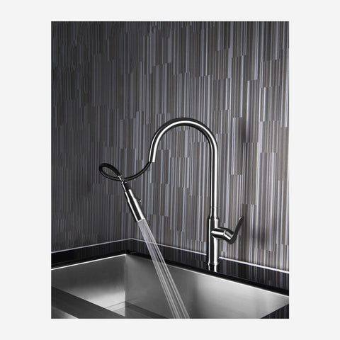 E2 Stainless Solid Stainless Steel Hot & Cold Water Gooseneck Faucet w/ Single Lever Water Control, Retractable Spray Head and Selectable Spray Patterns - XC0460/Tomales