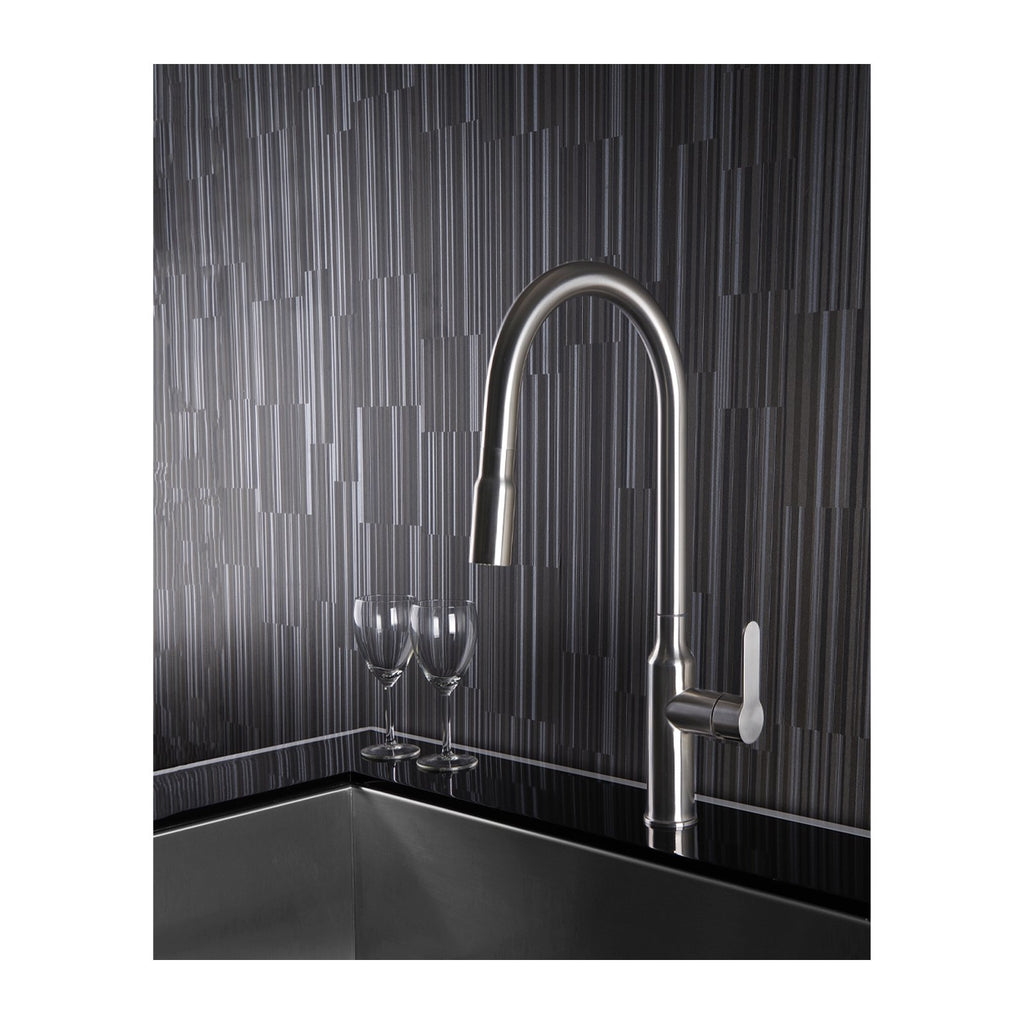E2 Stainless Solid Stainless Steel Gooseneck Faucet w/ Single Lever Water Control, Retractable Spray Head and Selectable Spray Patterns - XC0460/Tomales
