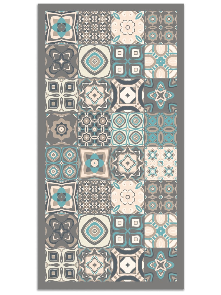 Vinyl Rug Printed with Vintage Tiles Design in Blue Colour | Kitchen Carpet | Living Room Rug | XXL Rugs | PVC Rugs