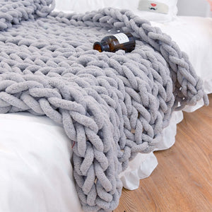 Chenille Chunky Knitted Blanket Weaving Blanket Mat Throw Chair Decor Warm Yarn Knitted Blanket Home Decor For Photography D30