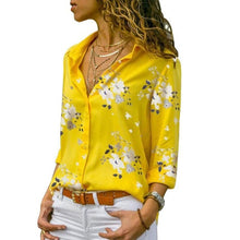 Load image into Gallery viewer, Casual Long Sleeve Women Blouses Turn-down Collar