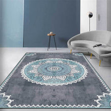 Load image into Gallery viewer, Gray Blue Mandala Carpet Vintage Europe Simple Bedroom Bedside Carpet Nordic Ethnic Style Carpet Hallway Kitchen Rug Mat
