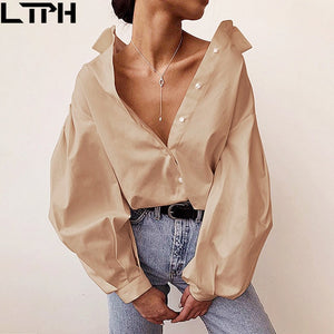 Hot sale 2020 New women blouses Lantern Sleeves lapel Streetwear fashion Casual wild Loose Slim button simple Solid shirt