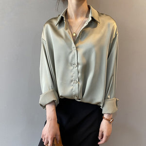 Fashion Button Up Satin Silk Shirt Vintage Blouse