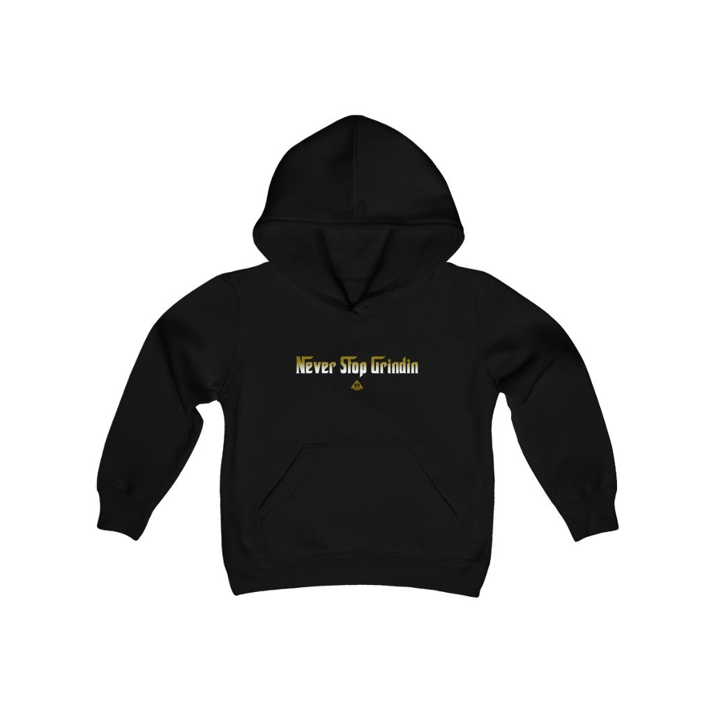 """Never Stop Grindin"" Big B Youth Heavy Blend Hooded Sweatshirt"