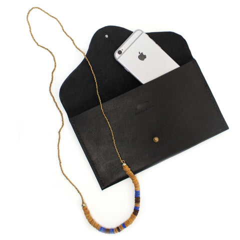 Mia clutch with necklace and iPhone