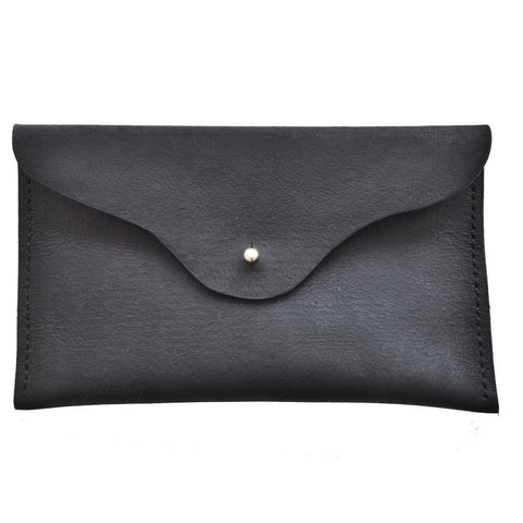 mia black leather clutch