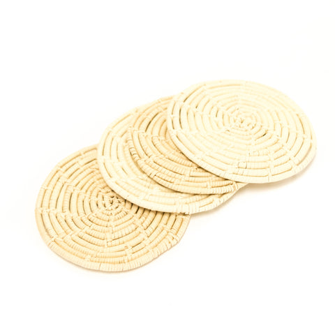 four woven coasters