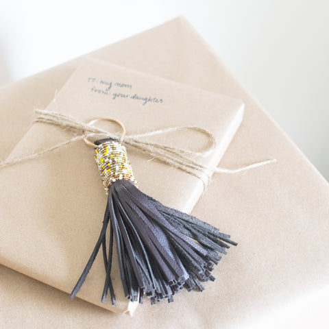 leather tassel on a package