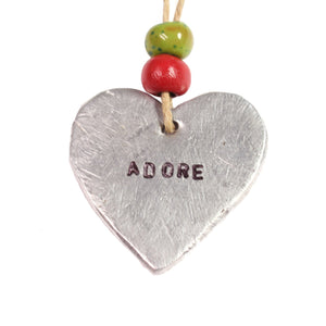 "Aluminum ""Adore"" Heart , Vineworks - Vineworks Fair Trade"