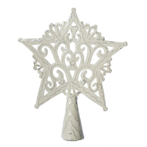 Tree Topper - White Star | Haitian Steel Metal Drum Art , Vineworks - Vineworks Fair Trade