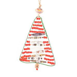 Wire and Bead Christmas Tree Ornament , Vineworks - Vineworks Fair Trade